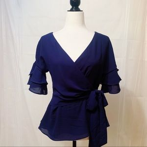 Navy blue waist-tied blouse Mendocino